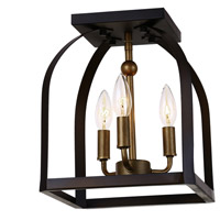 Worthington 3 Light 10 inch Oil Rubbed Bronze and Antique Gold Flush Mount Ceiling Light