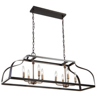 Artcraft AC11019 Worthington 8 Light 40 inch Oil Rubbed Bronze and Antique Gold Island Light Ceiling Light