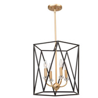 Artcraft AC11030 Harmony 4 Light 16 inch Black and Satin Brass Chandelier Ceiling Light