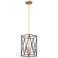 Artcraft AC11031 Harmony 3 Light 14 inch Black and Satin Brass Chandelier Ceiling Light