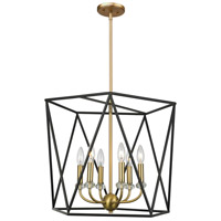 Artcraft AC11033 Harmony 6 Light 20 inch Black and Satin Brass Chandelier Ceiling Light