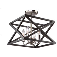 Elements 4 Light 13 inch Black and Polished Nickel Semi Flush Ceiling Light