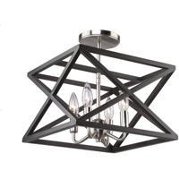 Artcraft AC11044 Elements 4 Light 13 inch Black and Polished Nickel Semi Flush Ceiling Light