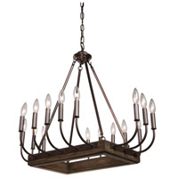 Artcraft AC11056BU Aberdeen 16 Light 22 inch Brunito Bronze and Light Wood Chandelier Ceiling Light
