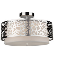 Bayview 3 Light 16 inch Chrome and White Flush Mount Ceiling Light