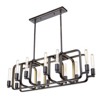 Artcraft AC11081 Marlborough 12 Light 41 inch Oil Rubbed Bronze and Gold Leaf Island Light Ceiling Light