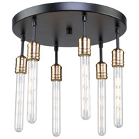 Willow 6 Light 16 inch Dark Bronze and Vintage Brass Flush Mount Ceiling Light