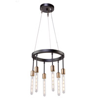 Willow 6 Light 15 inch Dark Bronze and Vintage Brass Chandelier Ceiling Light