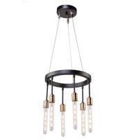 Artcraft AC11097 Willow 6 Light 15 inch Dark Bronze and Vintage Brass Chandelier Ceiling Light