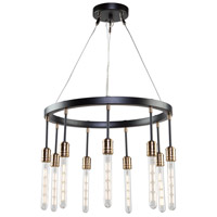 Willow 9 Light 22 inch Dark Bronze and Vintage Brass Chandelier Ceiling Light