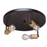 Artcraft AC11103 Skyline 3 Light 16 inch Dark Bronze and Satin Brass Flush Mount Ceiling Light