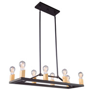 Artcraft AC11109 Skyline 8 Light 32 inch Dark Bronze and Satin Brass Island Light Ceiling Light