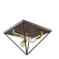 Artistry 3 Light 14 inch Matte Black and Satin Brass Flush Mount Ceiling Light