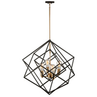 Artistry 4 Light 24 inch Matte Black and Satin Brass Chandelier Ceiling Light