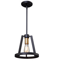 Regent 1 Light 10 inch Black and Satin Brass Pendant Ceiling Light