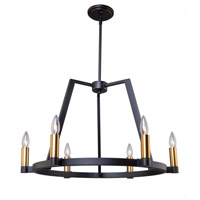 Regent 6 Light 26 inch Black and Satin Brass Chandelier Ceiling Light