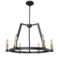 Artcraft AC11126 Regent 6 Light 26 inch Black and Satin Brass Chandelier Ceiling Light