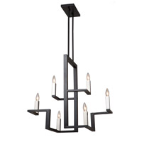 Artcraft AC11136 Urban Chic 6 Light 14 inch Matte Black and Satin Nickel Chandelier Ceiling Light