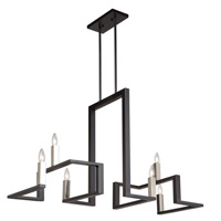 Artcraft AC11137 Urban Chic 6 Light 14 inch Matte Black and Satin Nickel Chandelier Ceiling Light