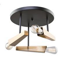 Artcraft AC11153 Olympia 3 Light 14 inch Black and Satin Brass Flush Mount Ceiling Light