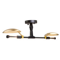 Aventura LED 27 inch Matt Black Semi Flush Ceiling Light