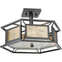 Artcraft AC11193 Chadwick 3 Light 17 inch Dark Bronze and Satin Brass Semi Flush Ceiling Light