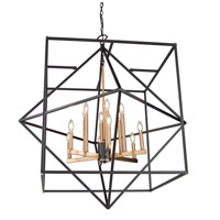 Artcraft AC11202 Roxton 12 Light 42 inch Matte Black and Harvest Brass Chandelier Ceiling Light