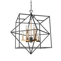 Artcraft AC11208 Roxton 8 Light 32 inch Matte Black and Harvest Brass Chandelier Ceiling Light