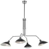 Nero 4 Light 49 inch Black and White Interior Chandelier Ceiling Light