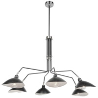 Artcraft AC11216 Nero 6 Light 49 inch Black/White Interior Chandelier Ceiling Light