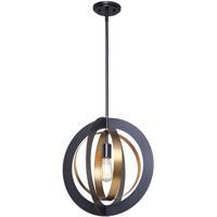Artcraft AC11231 Capri 1 Light 17 inch Dark Bronze and Satin Brass Chandelier Ceiling Light