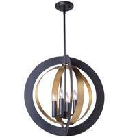 Artcraft AC11234 Capri 4 Light 21 inch Dark Bronze and Satin Brass Chandelier Ceiling Light
