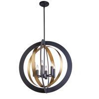 Artcraft AC11236 Capri 6 Light 26 inch Dark Bronze and Satin Brass Chandelier Ceiling Light