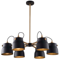 Artcraft AC11366VB Euro Industrial 6 Light 31 inch Matte Black and Harvest Brass Chandelier Ceiling Light
