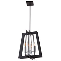 Artcraft AC11374 Carlton 4 Light 14 inch Matte Black and Polished Nickel Chandelier Ceiling Light