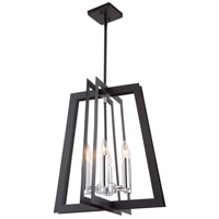 Artcraft AC11376 Carlton 6 Light 18 inch Matte Black and Polished Nickel Chandelier Ceiling Light