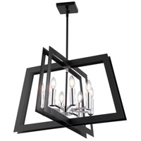 Artcraft AC11378 Carlton 8 Light 26 inch Matte Black and Polished Nickel Chandelier Ceiling Light