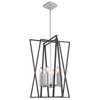 Artcraft AC11386 Middleton 6 Light 19 inch Matte Black and Polished Chrome Chandelier Ceiling Light