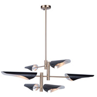 Artcraft AC11396 Modern Renaissance 6 Light 41 inch Harvest Brass and Black Chandelier Ceiling Light
