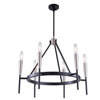 Artcraft AC11416 Flute 6 Light 28 inch Matte Black and Satin Nickel Chandelier Ceiling Light