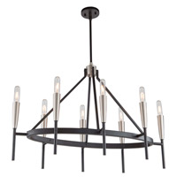 Artcraft AC11418 Flute 8 Light 18 inch Matte Black and Satin Nickel Chandelier Ceiling Light
