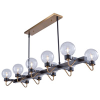 Artcraft AC11420CL Chelton 10 Light 49 inch Matte Black and Harvest Brass Island Light Ceiling Light