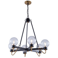 Artcraft AC11426CL Chelton LED 27 inch Matte Black and Harvest Brass Chandelier Ceiling Light