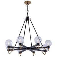 Artcraft AC11428CL Chelton LED 36 inch Matte Black and Harvest Brass Chandelier Ceiling Light