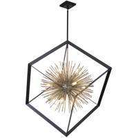 Artcraft AC11441 Sunburst 12 Light 37 inch Matte Black and Satin Brass Chandelier Ceiling Light