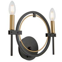Anglesey 2 Light 3 inch Matte Black and Harvest Brass Wall Sconce Wall Light