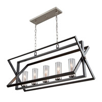 Artcraft AC11473 Vissini 5 Light 37 inch Matte Black and Polished Nickel Island Light Ceiling Light