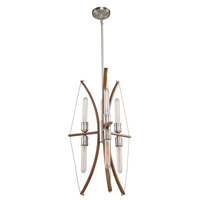 Artcraft AC11482 Arco 6 Light 18 inch Faux Wood and Brushed Nickel Chandelier Ceiling Light