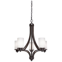 Parkdale 5 Light 24 inch Oil Rubbed Bronze Chandelier Ceiling Light in Opal White