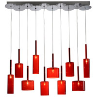 Artcraft Lighting Berlinetta 10 Light Island Light with Red Glass AC1340RD
